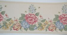 Maxwell COUNTRY FLOWERS & BEES ROSES Prepasted Wallpaper Border 5 Yards