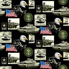 Military Army Scenes and Logos in Squares Cotton Fabric Fat Quarter