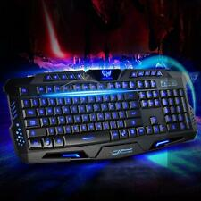 Waterproof Tricolor Illuminated Backlit USB Wired Keyboard for Desktop Laptop PC
