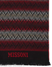 MISSONI Scarf Women's or Men's Zig Zag Dual Tone Made in Italy 100% Wool Red NEW