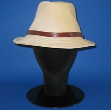 NWT Burberry Ladies 'Ryan' Honey 100% Cotton Trilby Fedora Hat - L -- FINAL SALE