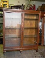Antique 1930's Vintage Solid Quartered Oak 2-Door 8-Shelf Bookcase Brass Handles