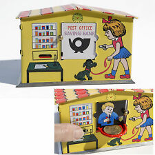 Jouets En Tôle - Nostalgie Tirelire Post Bureau Banc Poststation