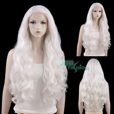 "28"" Long Curly White Lace Front Synthetic Hair Wig Heat Resistant"