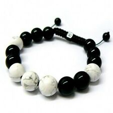 Shamballa Black Onyx White Howlite Bead knitted Rope Chain Bracelet Men's/Women