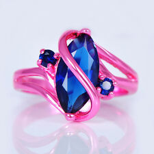 Men/Women's Marquise Cut Blue Sapphire Wedding Ring 10KT Pink Gold Filled Sz4-12