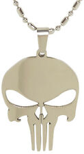 Stainless Steel Punisher Skull Pendant Necklace