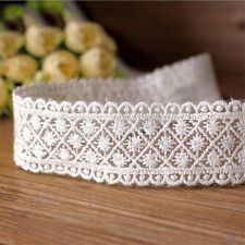 Embroidered Cotton Mesh Lace Edge Trim Ribbon Applique Sewing Crafts DIY White