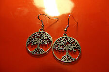 Silvered Tree of Life Silhouette Earrings on 925 Sterling Silver French Hooks