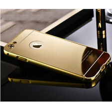 Luxury Gold Plated Aluminum Metal Mirror Back Cover Case For iPhone Samsung