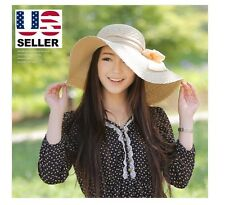Women Wide Large Brim Floppy Folding Summer Beach Sun Straw Beach Hat - Beige