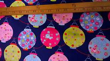 Cotton Fabric large colourful round lanterns on blue background by the metre