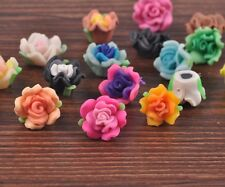 30Pcs Rose Polymer Fimo Clay Flower Shape Loose Spacer Beads Multi-color 15mm