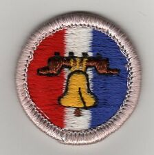 Citiz. in the Nation (Small Bell) Merit Badge, Type H, Plastic Back  (1972-2002)