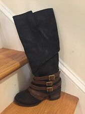 Freebird  By Steven Navy Boots With Brown Leather Straps NWOB Size 7 Retail $350
