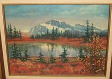 ANDY AUBIN SNOW MOUNTAIN LAKE LANDSCAPE OIL ON CANVAS PAINTING