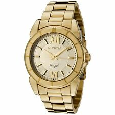 New Womens Invicta 0459 Angel Collection Rhodium Plated Gold-Tone Watch