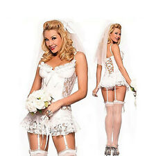Women White Lingerie Babydoll Lace Underwear Sleepwear Bodysuit Wedding Dress