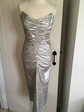 **MIU MIU** Vintage Stretch Ruched Silver Leather Dress **UNIQUE / ONE OFF**