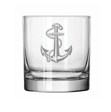 11oz Rocks Whiskey Highball Glass Anchor with Rope
