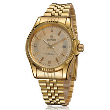 Golden Automatic Date Mechanical Watch Men's Stainless Steel Wristwatches Gifts