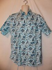 mens phat farm hawaiian tropical button front s/s shirt L nwt blue south pacific