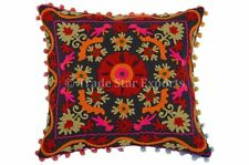 """16"""" Suzani Pillow Cover Boho Throw Indian Cushion Cover Vintage Embroidery Shams"""