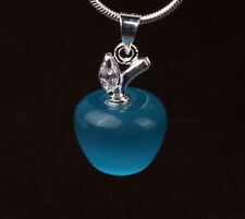 S80 Silver Cat's Eye Fruits CZ pendant necklace jewelry FB194
