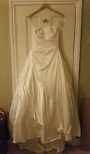 Alan Hannah silk satin ivory strapless a-line Designer wedding dress size 14