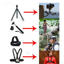 Accessories kit set Chest Body Strap+Monopod+Tripod for Gopro action camera