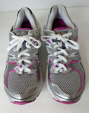 "Asics ""Gel Landreth 7"" gray, white and fuschia running shoes. Women's 9"