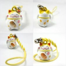 Yellow Cell Phone Hanging Maneki NekoJapanese Cat For Lucky Charm Bell Inside