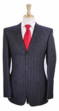 * YVES SAINT LAURENT * Rive Gauche Gray Striped Flannel Wool 3-Btn Slim Suit 36R