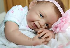 "TOO CUTE! - Newborn 21"" Collectors Life Like Pacifier Baby Girl Doll + 2 Outfits"