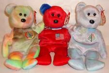 NEW TY Teddy BEAR Picnic 3 Bears Issy  Dallas +  America + Peace Ideal Gift