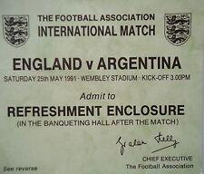TICKET 25.5.1991 England - Argentinien Argentina