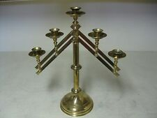 COLLECTIBLE BRASS PLATED ADJUSTABLE CANDELABRA CHURCH STYLE 5 CANDLE HOLDER