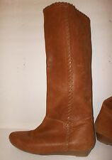 INC INTERNATIONAL CONCEPTS Ranny Tan/Brown Leather Tall Wedge Boots Womens 5 5M
