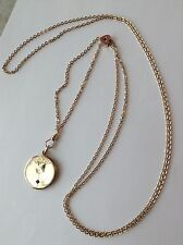 VICTORIAN GOLD FILLED WATCH SLIDE CHAIN NECKLACE WITH LOCKET K4