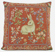 French Tapestry Decorative Throw Pillow Cover 19x19 Medieval Rabbit