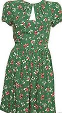 Topshop Green Floral Rose Blossom Crepe 20s 40s Vtg Summer Tea Day Dress 8 4 36