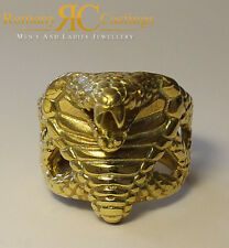 Very Rare Unisex Cobra Snake Head Ring Cast in Solid 9ct Fully Stamped 22.5 g