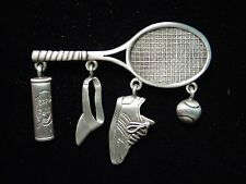 """JJ"" Jonette Jewelry Silver Pewter 'TENNIS Racket with Charms' Pin"