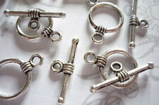 Antiqued Silver Butterfly Toggle Clasps - 23mm - Qty 6 Sets