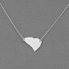 Simple Silver Dainty State Of South Carolina Pendant Necklace