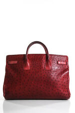 A And B Exotics Red Ostrich Skin Zip Up Tote Size Extra Large