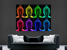BUDDHA RELIGION POSTER TRIPPY BRIGHT COLOUR PSYCHEDELIC WALL ART HUGE IMAGE
