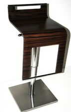 Vintage Bar Stool, Stainless Steel & Bent Wood Seat - FREE Delivery [PL1564]