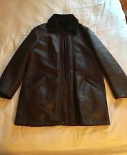 Trussardi Dark Brown Leather Shearling Fur Jacket Coat It 50 Large