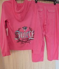 NWT Women's Juicy Couture Embellished Terry Track Capris Suit Knockout Pink Sz L